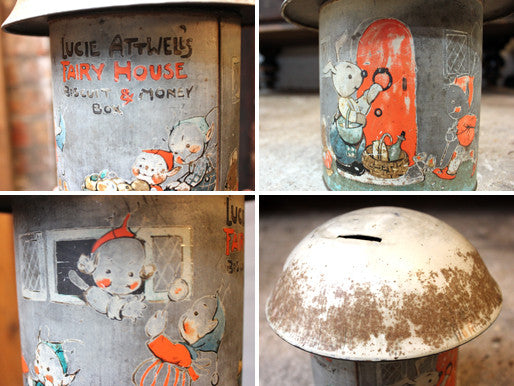 A Charming c.1934 Crawford & Sons Ltd Tin Biscuit Barrel Money Box; 'Fairy House' by Mabel Lucie Attwell