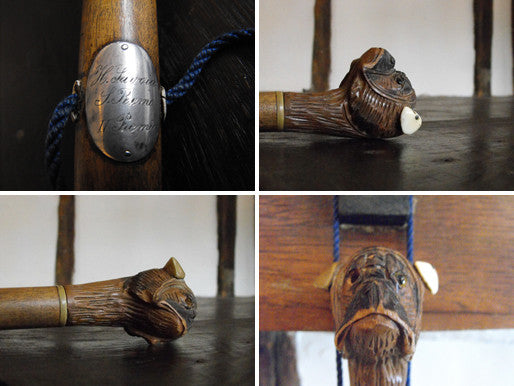 A Silver Mounted 19thC Walking Stick, The Terminal Carved as a Bulldog's Head