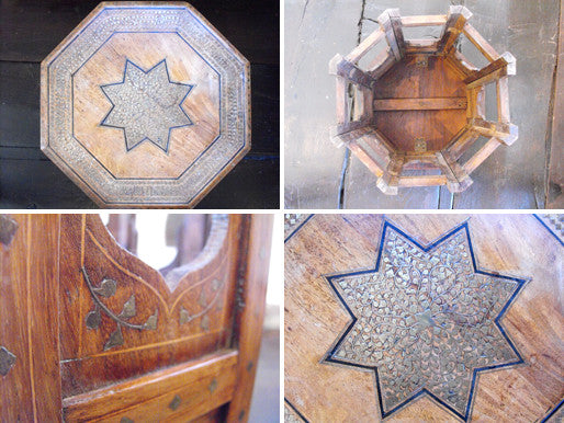 A Moorish Sandalwood & Brass Inlaid Table of Octagonal Form on a Folding Base