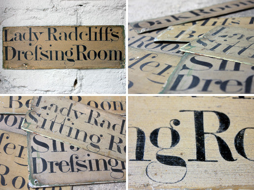 The Radcliffe Baronetcy & Rudding Park House; A Terrific Group of Six Victorian Period Painted Tin Room Name Plates