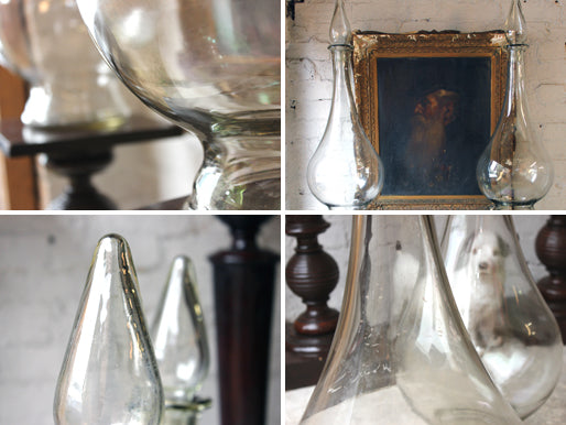 A Fantastic Pair of Very Large 19thC Clear Glass Apothecary Shop Jars