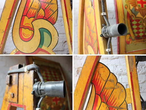 A Fantastic c.1950 Hand Painted Fairground Hoopla Stall Lighting Canopy Bracket Attributed to Fred Fowle