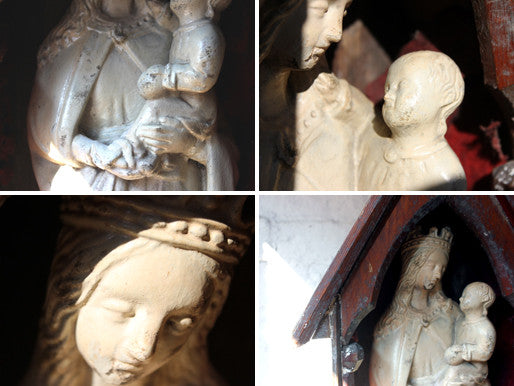 A c.1837 Ecclesiastical Plaster Model of the Madonna & Child in Niche Pine Stand
