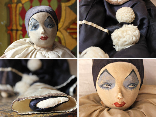 A Fine Large Early 20thC Fabric Pierrot/Pierrette Boudoir Doll