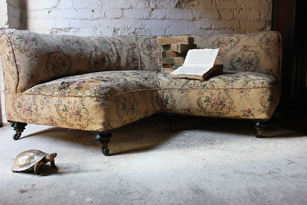 A Charming Edwardian Period Upholstered Corner Love Seat Sofa c.1900