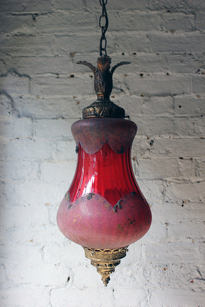 A Pretty Naturalistic Late Victorian Brass & Cranberry Glass Hall Lantern c.1890