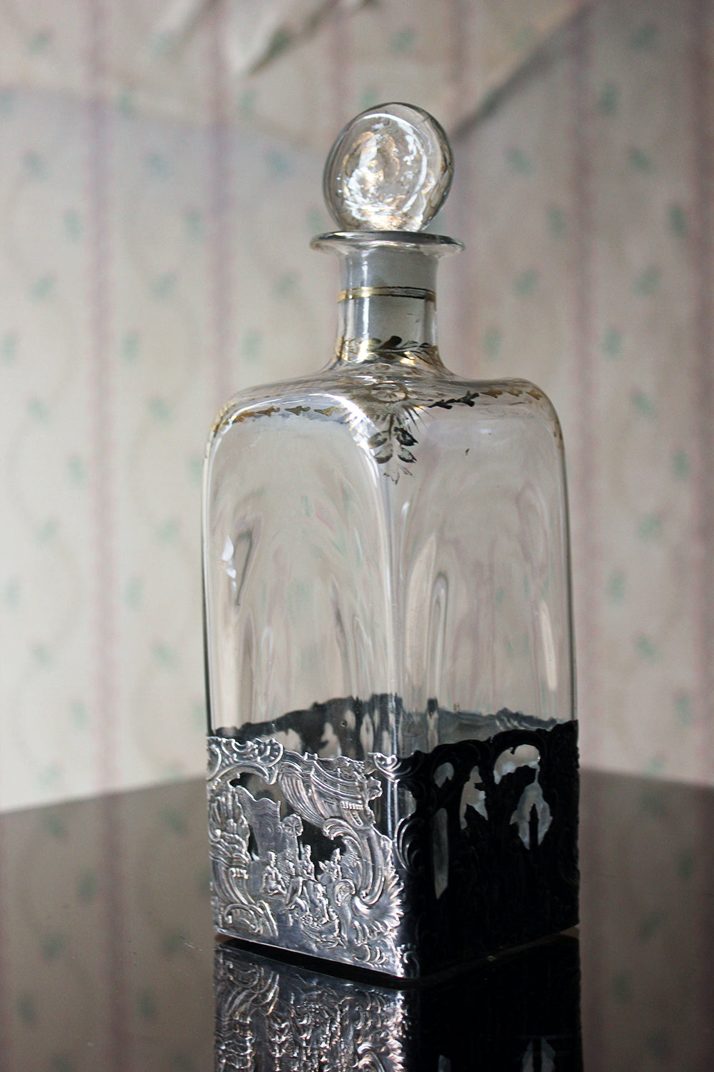 An Attractive Early 20thC German Glass & Silver Applied Decanter Imported by Berthold Hermann Muller; London, 1913