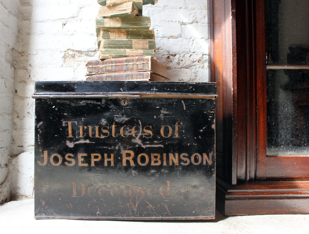 "A Large c.1900 Black Painted Steel Deed Box: ""Trustees of Joseph Robinson Deceased"""