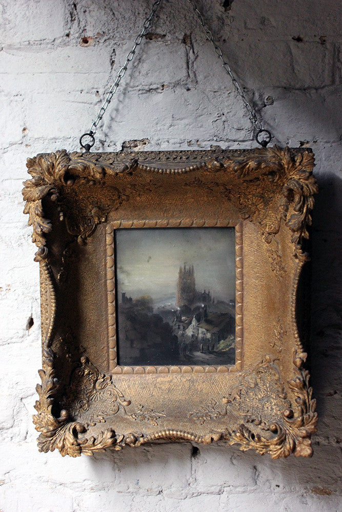 An Atmospheric 19thC English School Mixed Media Street Scene in an Extraordinary Gesso Gilt Frame c.1860-80