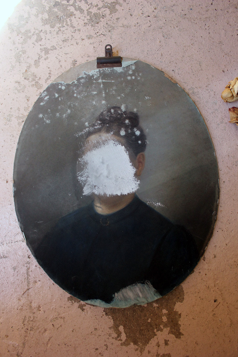 A 19thC Defaced French School Oval Pastel Portrait of Lady c.1870