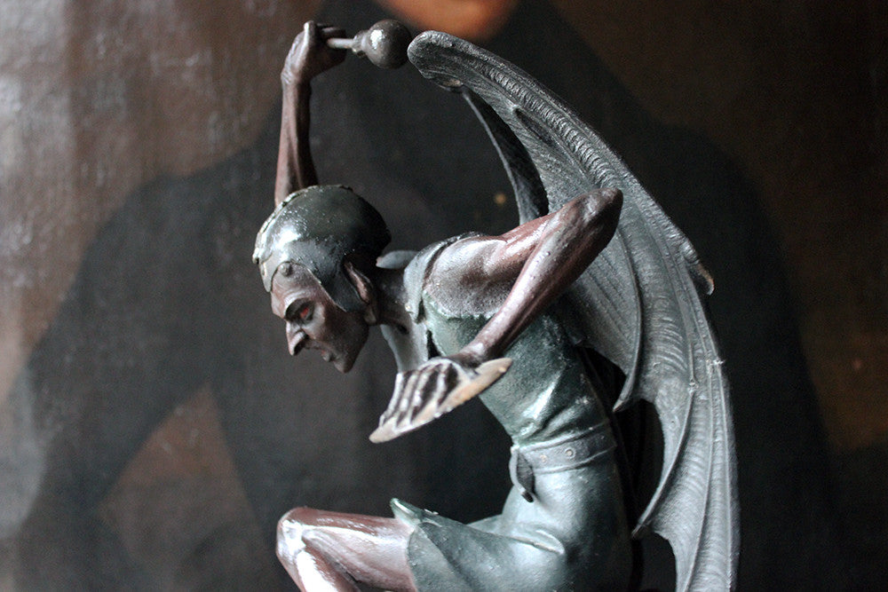 An Extraordinary Late 19thC Spelter Gothic Mantle Clock in the Form of a Winged Devil c.1880