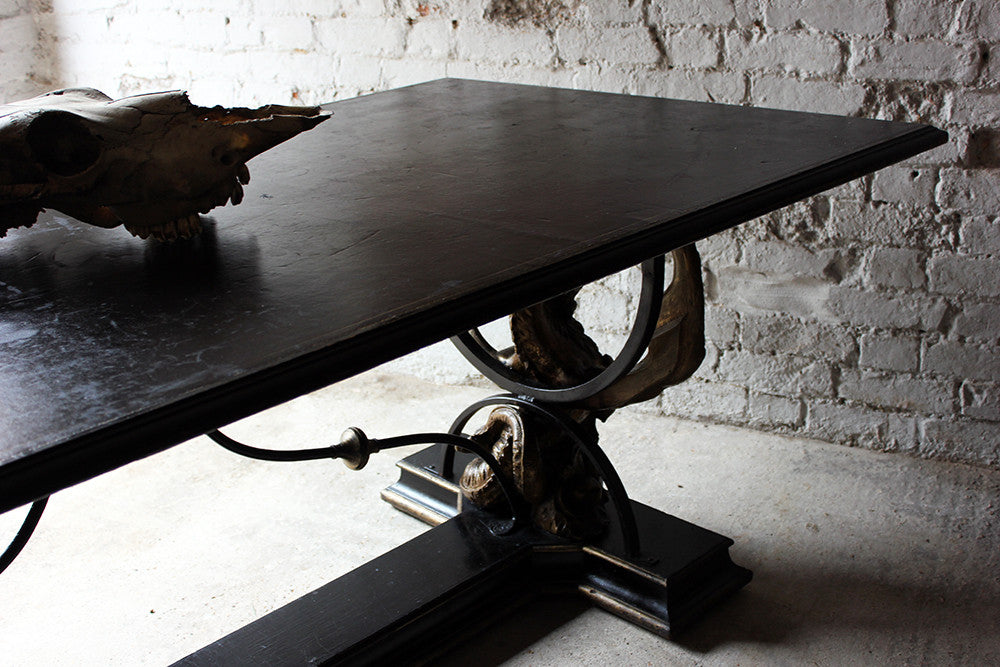 An Impressive Mid 20thC Leather & Giltwood Ebonised Centre Table Purportedly from the Set of James Bond; Dr. No