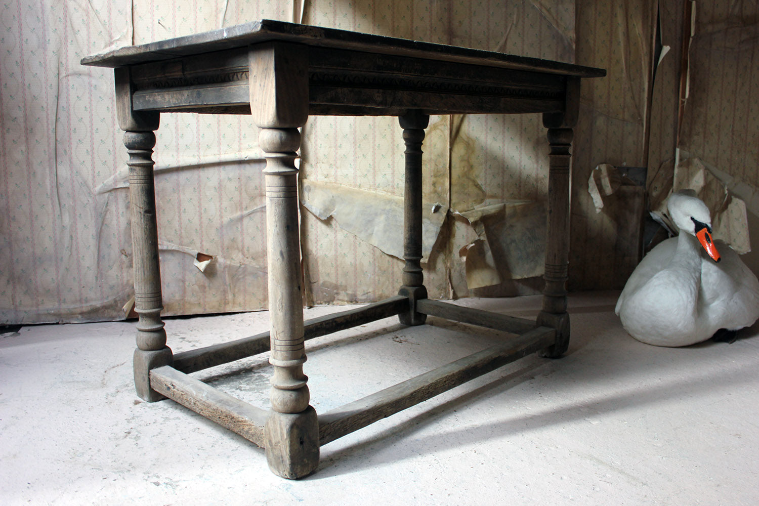 A 17thC Dry Oak Charles II Period Side Table c.1680