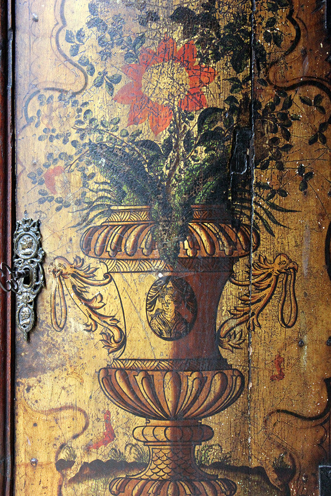 A Decorative Dutch Bow-Fronted Painted Corner Cupboard c.1770