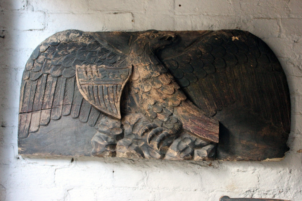 A Rare & Large c.1880 American Circus Wagon Relief Panel Carved as an American Bald Eagle