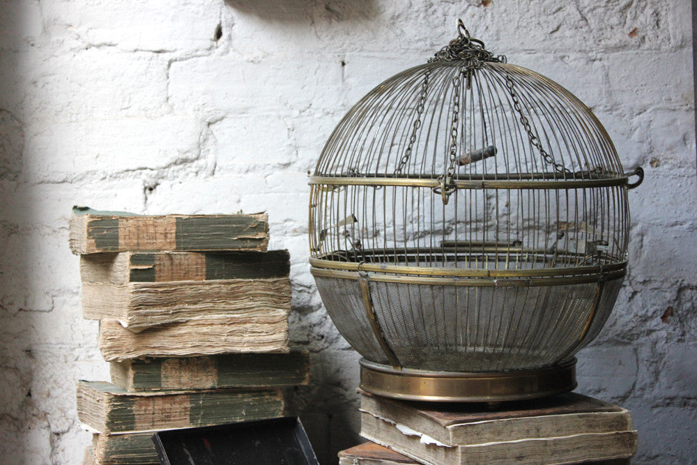 A Pretty c.1900 Spherical Brass Bird Cage