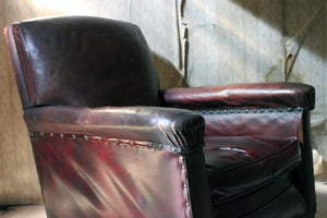 An Early 20thC Burgundy Leather Armchair c.1925-35