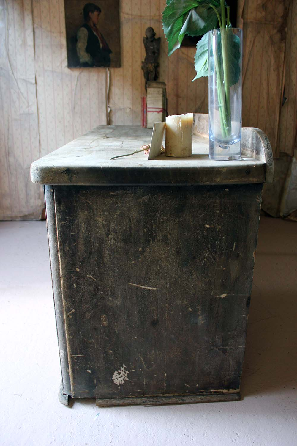 An Early Victorian Period Painted Pine & Sycamore Dresser Base c.1835-45