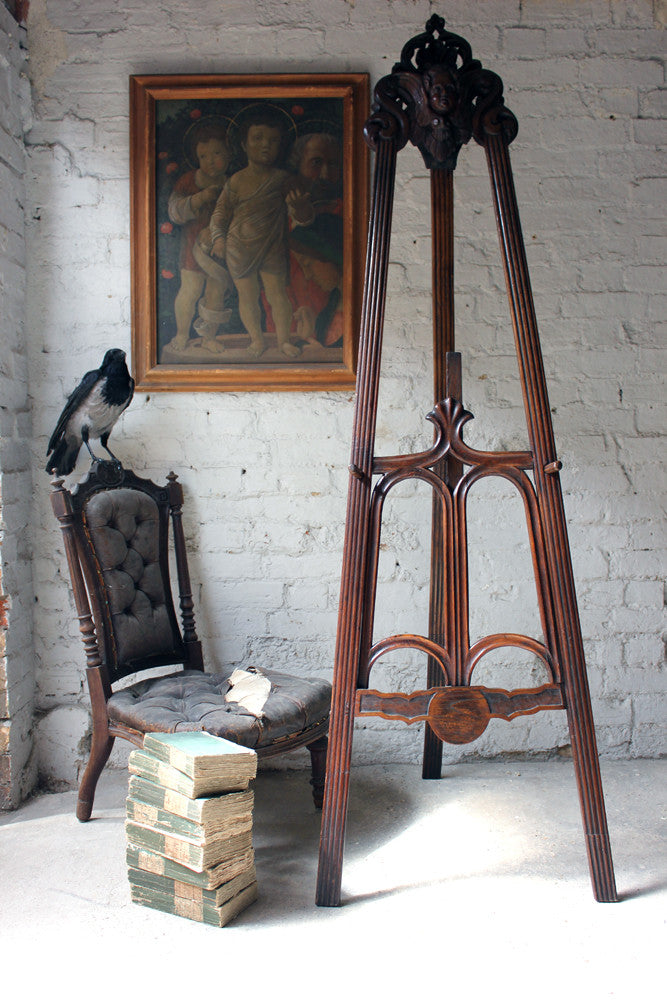 A Wonderfully Carved & Stained c.1900 Oak Gallery Artist's Easel