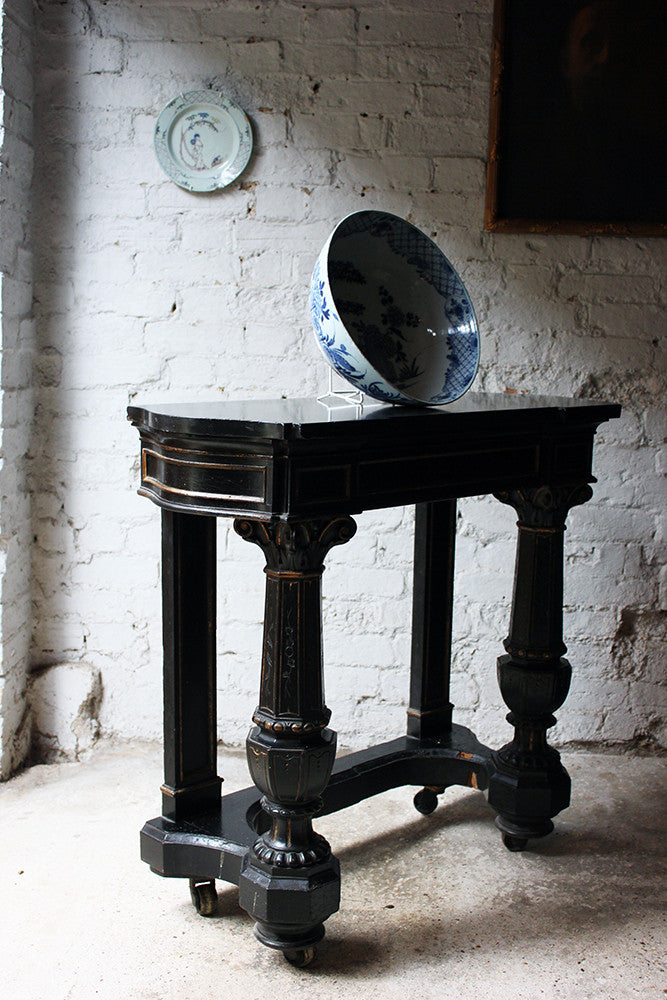 A Very Good Victorian Ebonised, Parcel Gilt & Marble Console Table c.1875