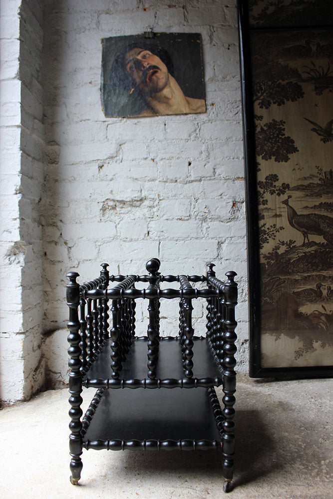 A Very Good 19thC French Ebonised Bobbin Turned Canterbury c.1870