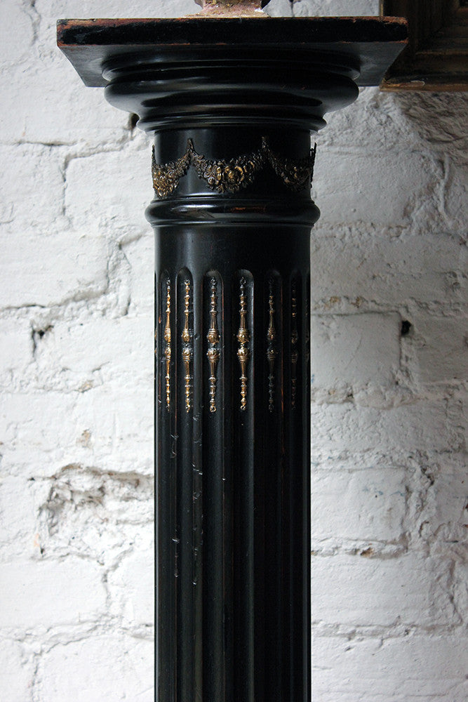 A Late Victorian Ebonised & Gilt Decorated Jardinière Stand c.1880