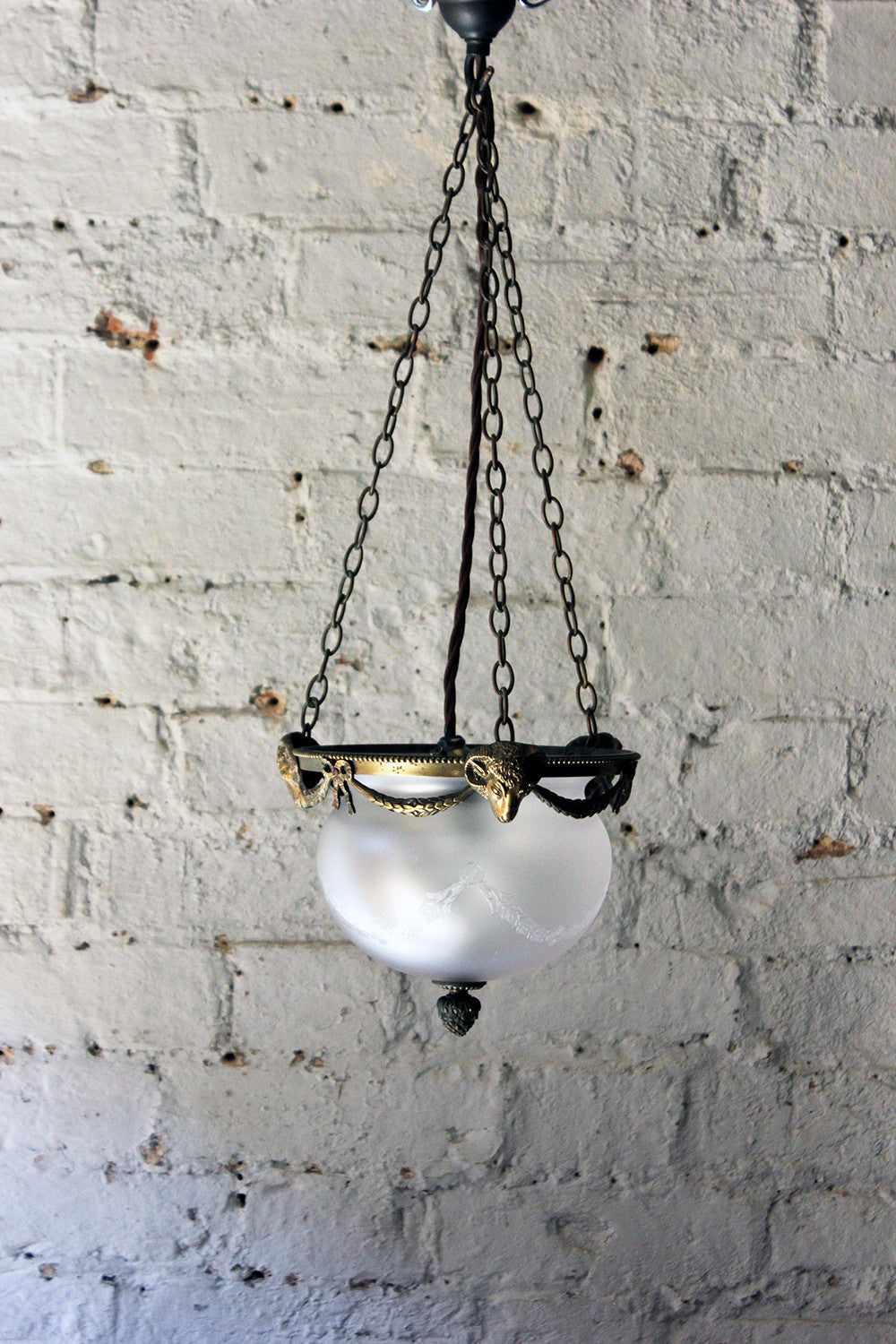 A Delightful Edwardian Period Neoclassical Revival Brass & Acid Etched Glass Hanging Pendant Ceiling Light c.1900-10