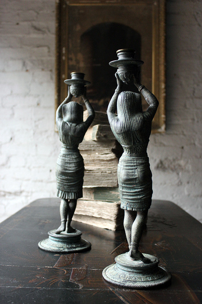 A Good Pair of c.1900 Bronzed Spelter Egyptian Revival Figural Candlesticks