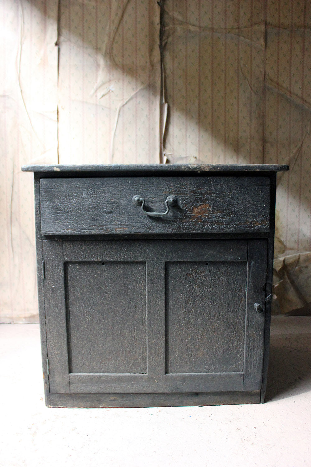 An 18thC Estate Made Painted Pine Pedestal Cupboard c.1760