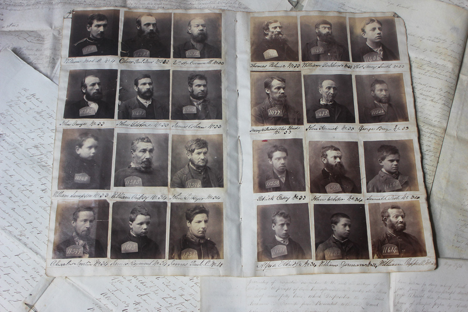 A Very Rare Mid-19thC Ledger Page of Convict Mugshot Photographs from Exeter Gaol c.1855-65