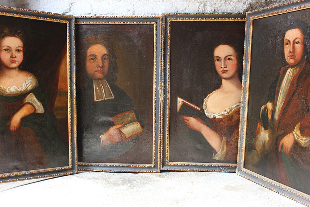 A Rare Group of Four 18thC Naïve School Oil on Canvas Portraits of a Family c.1780