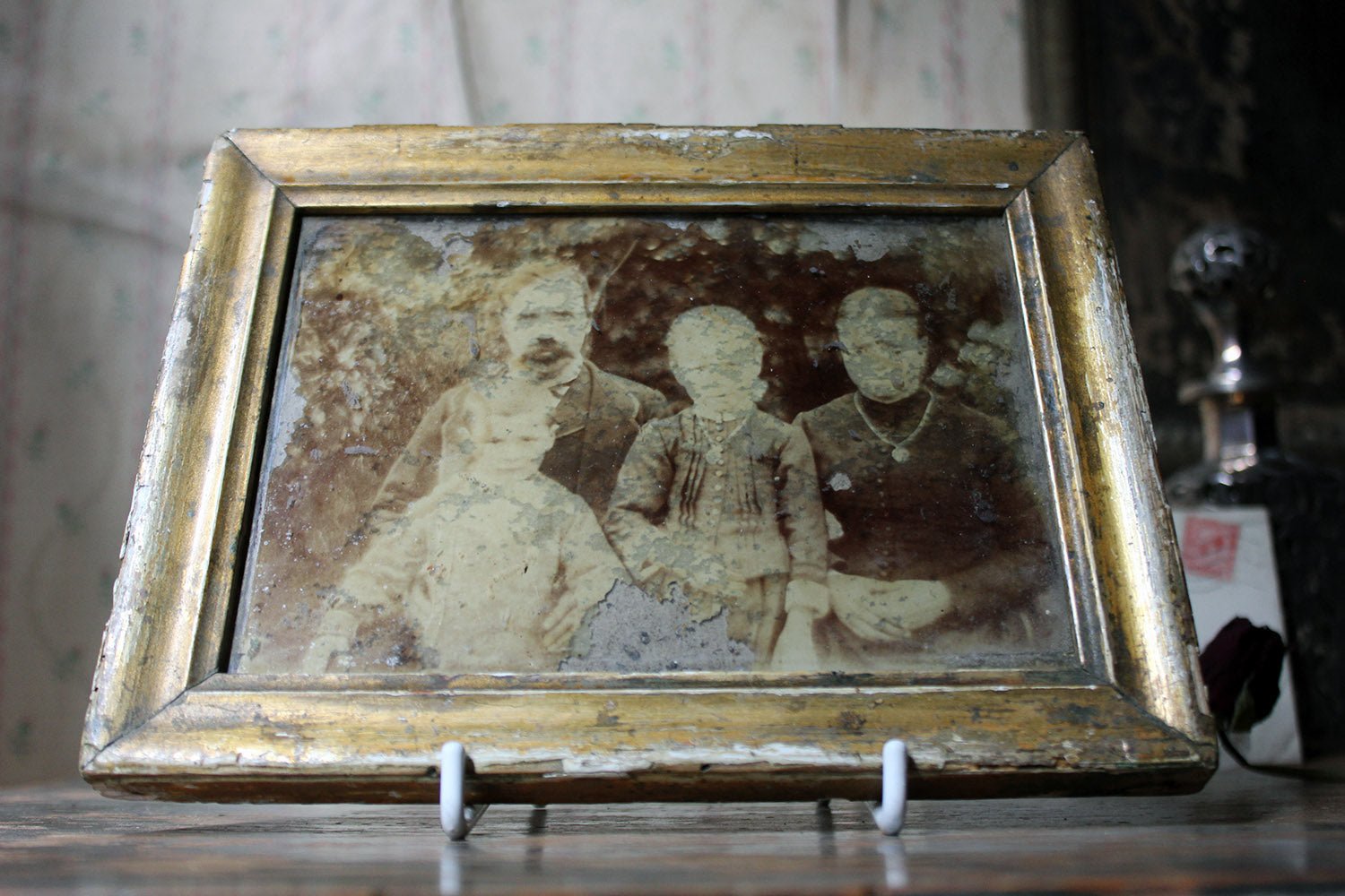 A Distressed Mid 19thC French Framed Daguerreotype of a Family