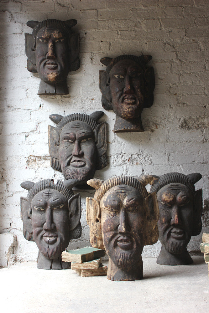 A Rare Group of Six c.1880 American Circus Wagon Fragments Carved as Mythical Faun Masks