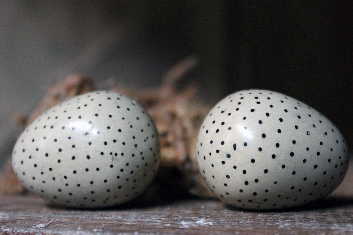 A Rare Pair of 19thC Hand-Painted Pottery Birds Eggs