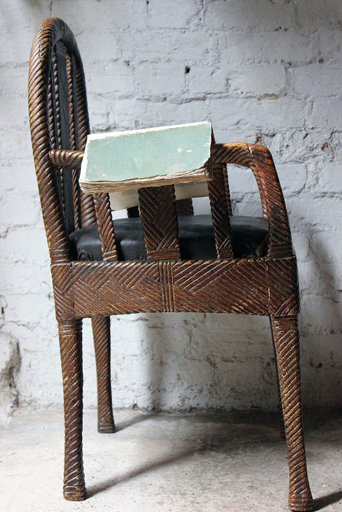 A Very Unusual Faux Wicker & Rexine Upholstered Open Armchair c.1890