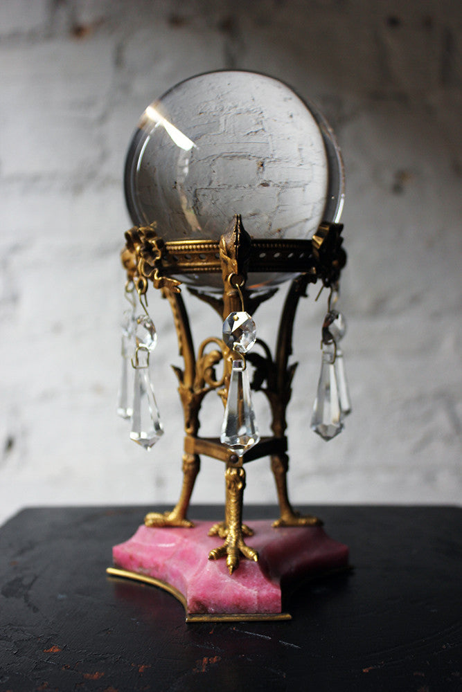 A Very Fine & Rare French Rock Crystal Ball On a Fine Ormolu Stand c.1900