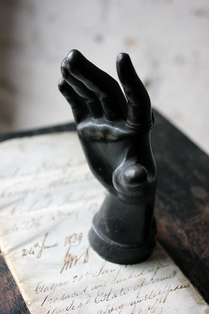 A Good Quality Victorian Dark Patinated Cast Iron Paperweight in the Form of a Ladies Hand c.1870-80