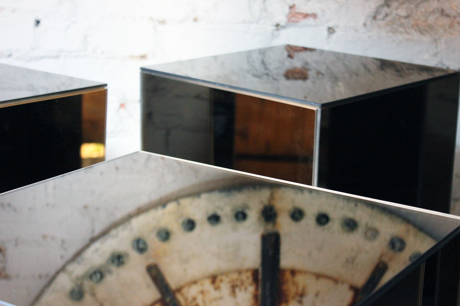 A Fantastic Group of Five Mirrored Pedestals c.1970-80