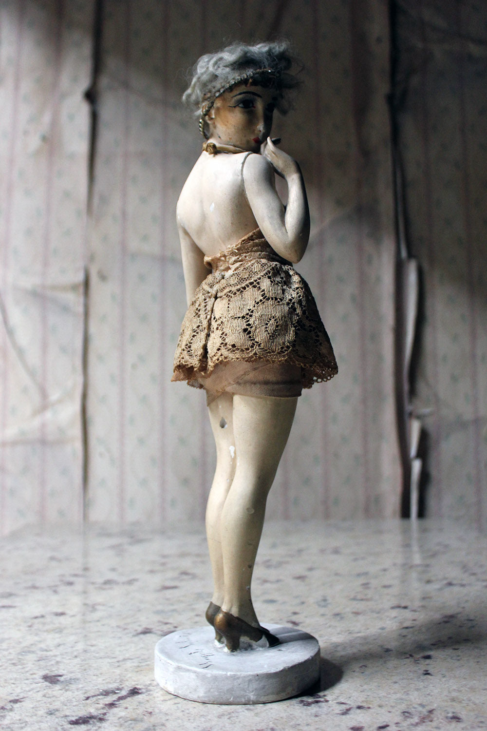 An Art Deco Period Plaster Boudoir Figure of a Flapper by Maurice Milliere c.1920