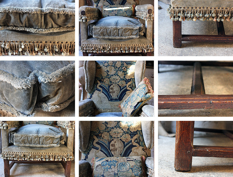 A Principally 17thC Louis XIV Aubusson Tapestry Upholstered French Provincial Wingback Armchair from Chateau Bayenvaal