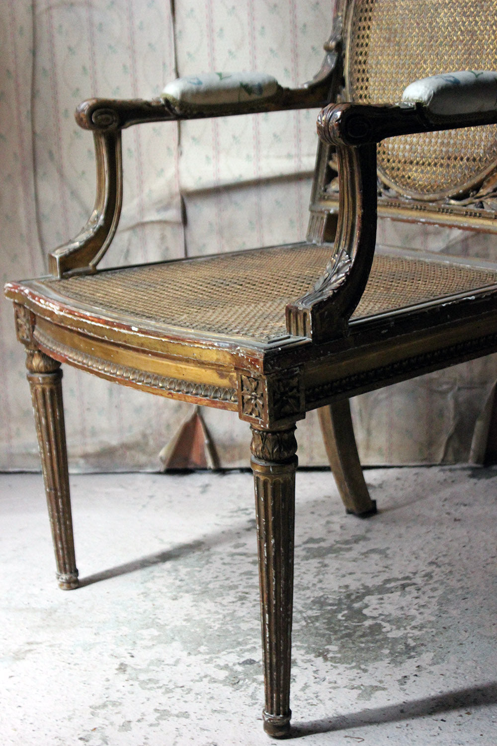 A 19thC French Carved Giltwood Open Armchair c.1880