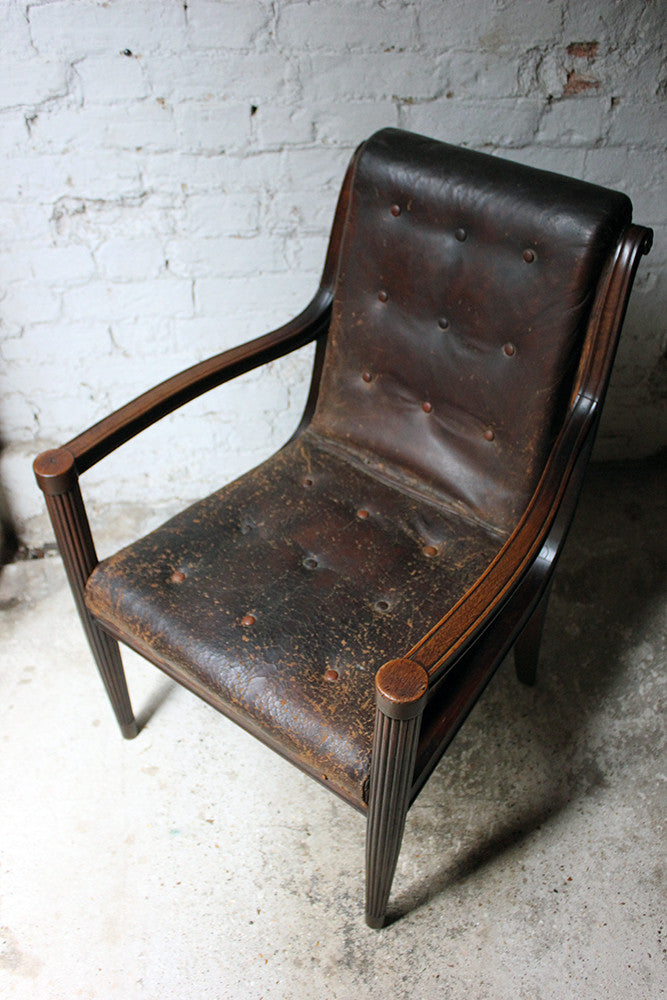 A Very Handsome Late 19thC French Walnut & Leather Desk Chair c.1900