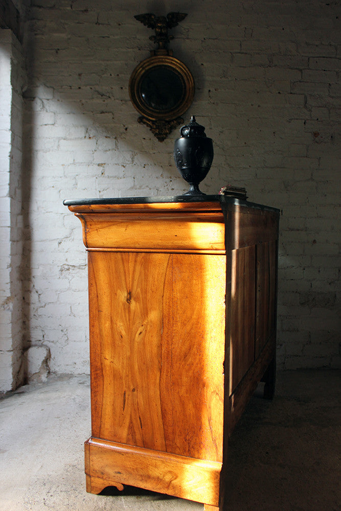A Stylish French Louis Philippe Period Walnut & Black Slate Commode c.1830-40