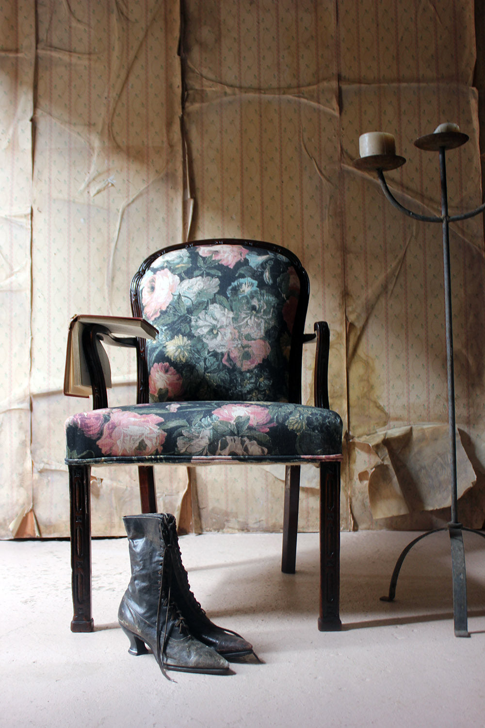 A George III Chinese Chippendale Mahogany & Upholstered Open Armchair c.1780