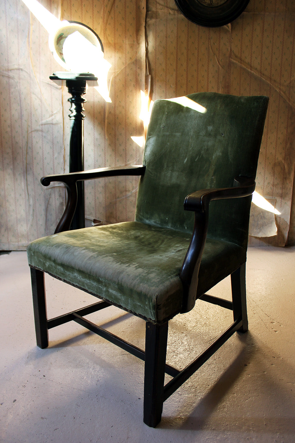 A George III Mahogany & Upholstered Open Armchair c.1790