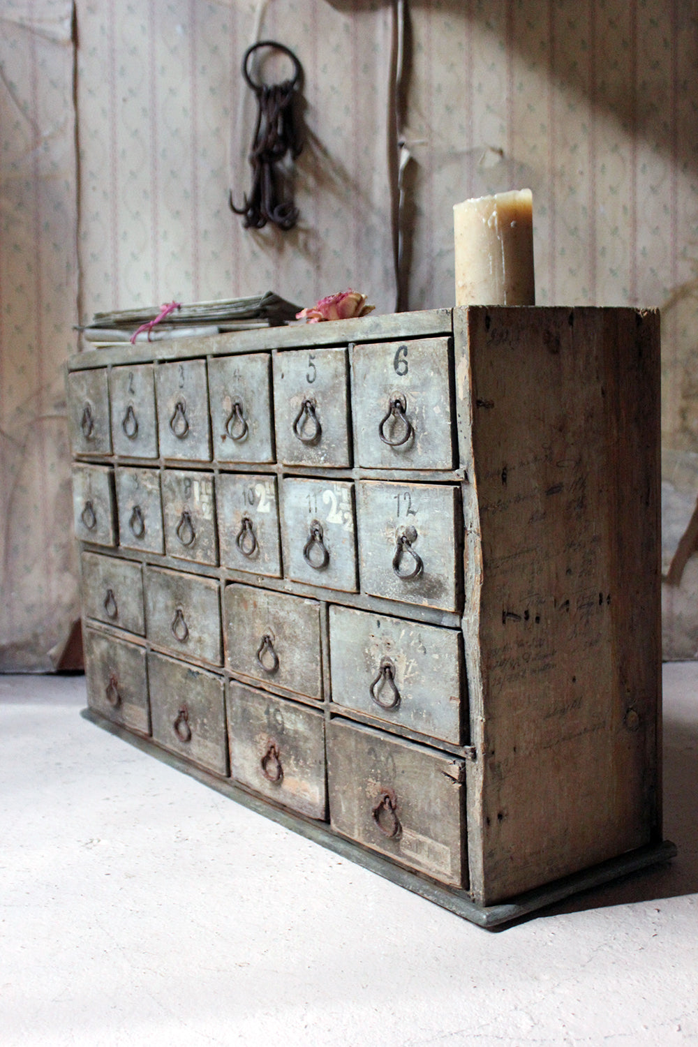 An Early 19thC Painted Pine Bank of Twenty Drawers c.1820-30