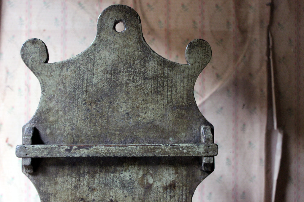 A George III Provincial Painted Oak Farmhouse Spoon Rack c.1780