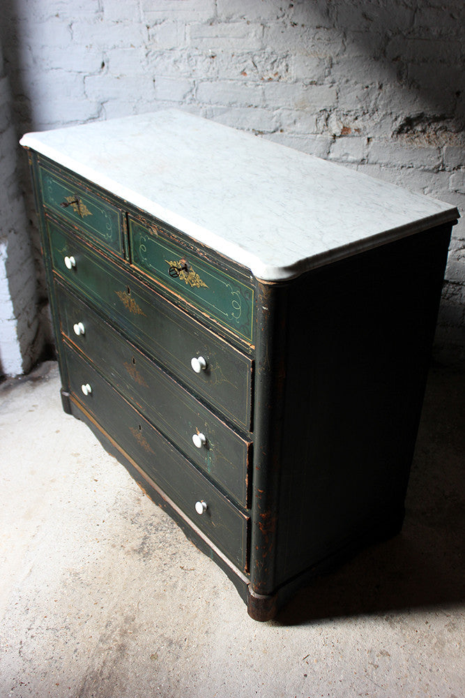 A Decorative North German Provincial Painted & White Marble Topped Commode c.1860