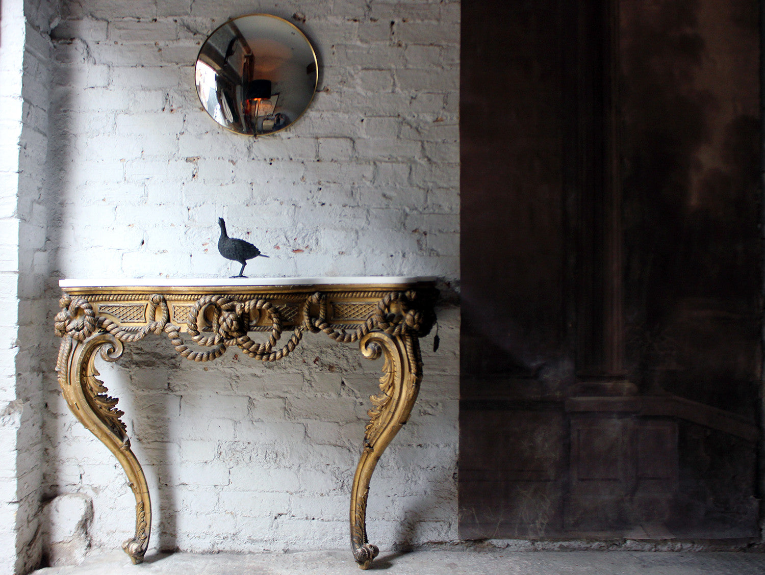 A Beautiful French Giltwood Gesso & Marble Topped Rope-Twist Console Table c.1865