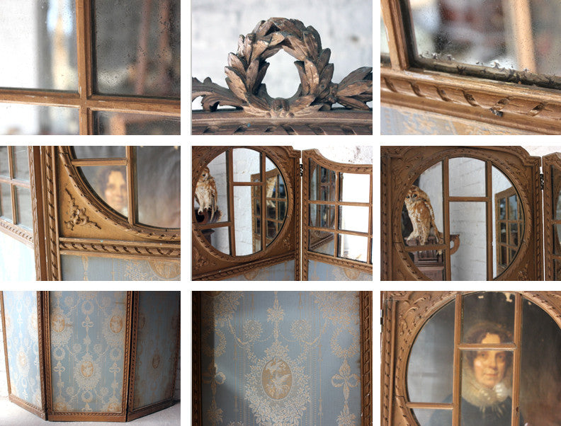 A Good French 19thC Giltwood & Mirror Panelled Three Panel Screen